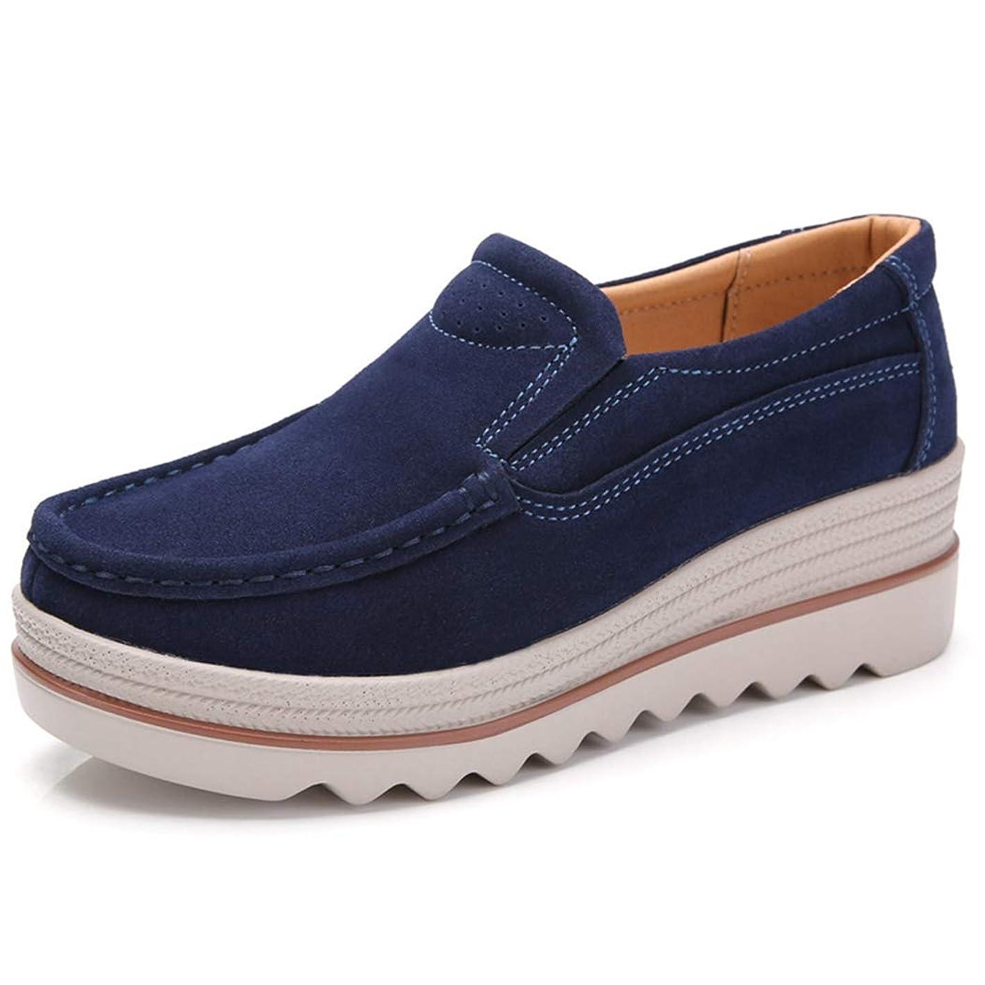 浮くさわやか大声で[WOOYOO] 厚底靴 モカシン レディース カジュアルシューズ スリッポン スエード 5.5cmアップ 軽量 ナースシューズ ウォーキング 履きやすい 婦人靴 作業靴 スニーカー 通勤 防滑 ブラック