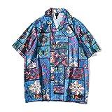 Alfabeto Camisa Floral De Dibujos Animados Impreso A Cuadros Blusa, Camisa De Verano Transpirable, Camiseta Lavable A Máquina para Acampar, Viajar,XXL