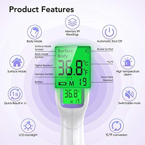 Wawech Termometro febbre infrarossi 2 in 1 Termoscanner professionale per febbre Misuratore temperatura corporea Termometro digitale Memorizza 99 letture per adulti neonati bambini