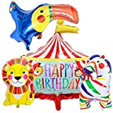 4Pcs Circus Party Balloons Carnival Stage Lion Parrot Horse Balloons for Circus Carnival Birthday Baby Shower Party Decorations Supplies