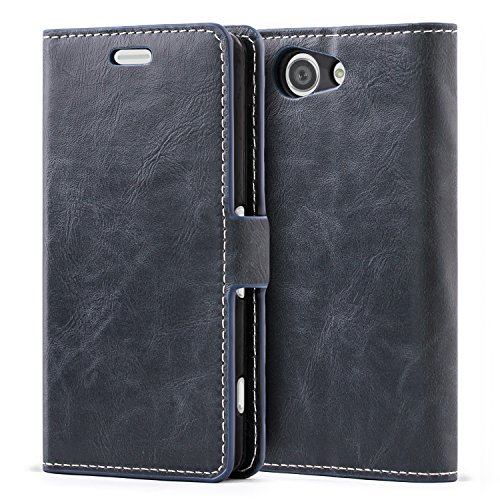 Mulbess Cover per Sony Xperia Z3 Compact, Custodia Pelle con Magnetica per Sony Xperia Z3 Compact [Libro Case], Blu Navy