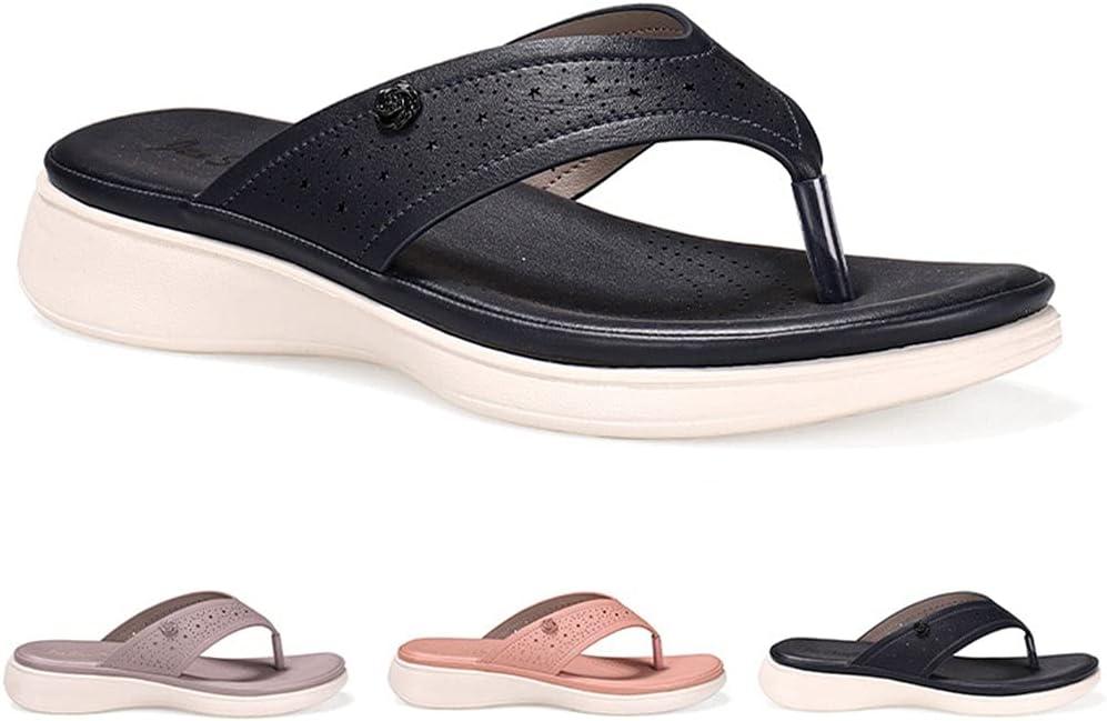 QUNHU Thong Sandals for Women's , Wedge Sandals for Women Flip Flops Summer Beach Platforms Clip Toe Comfort Wide Sandal Size 36-41 EU (Color : Dark Blue, Size : 36 EU)