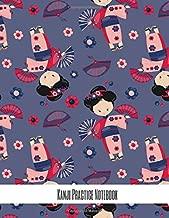 Kanji Practice Notebook: Handwriting Practice for Japanese scripts (hiragana, katakana, and kanji), Chinese and Korean Pink kimono purple background (Traditional Geisha Kanji Notebooks)