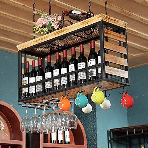 XHCP Estantes para Copas de Madera, Soporte para Botella de Vino para Colgar en el Techo, Unidad de Almacenamiento para Copa de Metal, estantes flotantes, Barras, Cocina, Organizador de
