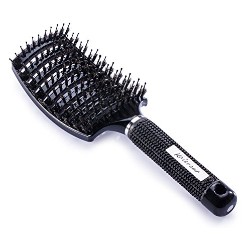 Cepillo Kaiercat de cerdas de jabalí, mejor en desenredar cabello grueso, ventilado para un secado más rápido; con cerdas de jabalí 100% naturales para la distribución del aceite en el cabello(Negro) 🔥
