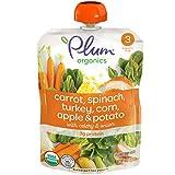 Plum Organics Stage 3 Organic Baby Food, Carrot, Spinach, Turkey, Corn, Apple & Potato, 4 Oz Pouch (Pack of 6)