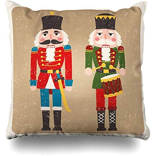 Niet van toepassing Kussenhoezen, Verkoop Kerstmis Twee Gekleurde Notenkrakers Vakanties Retro Vintage Verhaal Drummer Gooi Kussenhoezen 45x45cm