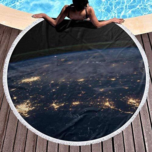 Fendy-Shop Toalla de Playa Redonda, Vista de la Tierra Toalla Manta a Prueba de Arena con borlas 150 cm / 59 Pulgadas de diámetro