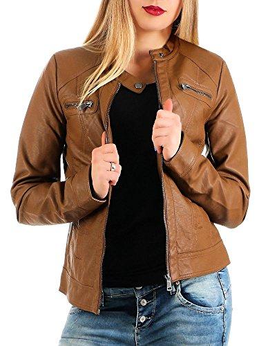 ONLY Damen Kunstlederjacke Bandit Stehkragen Biker-Style Cognac 38