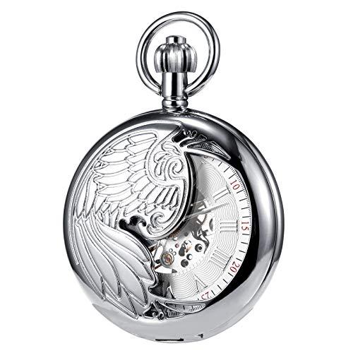 TREEWETO Herren Taschenuhr mit Kette, Retro Adler Analog Steampunk Skelett Uhr, Mechanisch Handaufzug Taschenuhren mit römischen Ziffern für Herren - Silber
