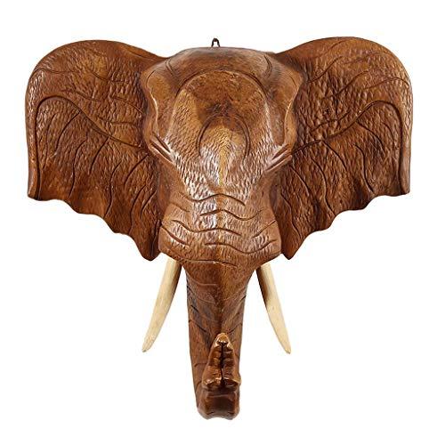 Figurobjekt Logga in Färgat Huvud Vägg Väggdekoration Animal Head Pendant Elephant Head Wall-Bing Vardagsrum Entré Hängande (Färg: Mässing, Storlek: M (43 * 40 cm))