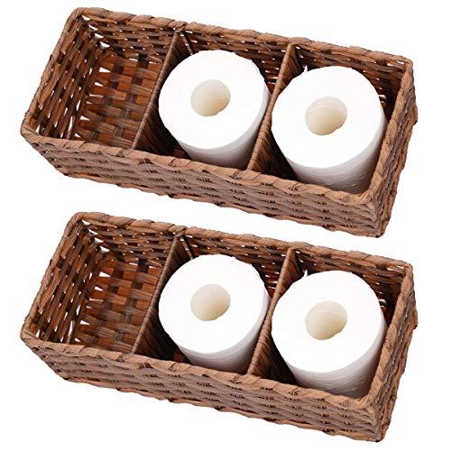 Toilet Paper Basket Woven Toilet Paper Storage Box Bathroom Decorative Storage Bin for Toilet Tank Top Three Separate Compartments Bathroom Storage Organizer Basket 2 Pack