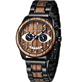 JYM Wooden Mens Watches Stylish Wood & Stainless Steel Combined Chronograph Military Quartz