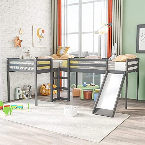MWKL La más Nueva litera Doble en Forma de L de Dos Camas Tipo Loft con 2 escaleras y tobogán, litera para familias, niños, Adolescentes, sin Necesidad de somier