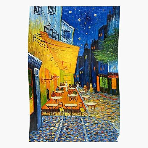 Terrace Famous Cafe Vincent Gogh Van Impressionism Art Painting Night Restored Póster de impresión de arte de pared para decoración del hogar !
