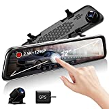 "KooBaCar 12"" 1296P Mirror Dash Cam for Cars with GPS/Rear Cam, Full Touch Screen Rear View Mirror Camera, Waterproof Rear Dash Camera, Mirror Camera Enhanced Night Vision, G-Sensor Parking Assistance"