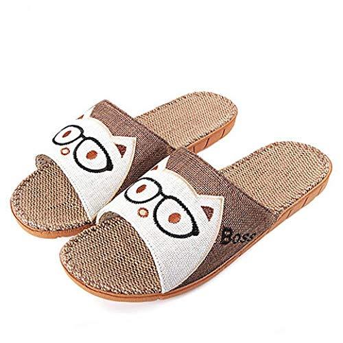 LINGZIA Zapatillas de casa de Verano de Lino para Hombre, Zapatos Casuales Zapatillas de baño Interior Antideslizantes Gato de Dibujos Animados Sandalias de Playa Masculinas Zapatillas de Lino 10 Ca