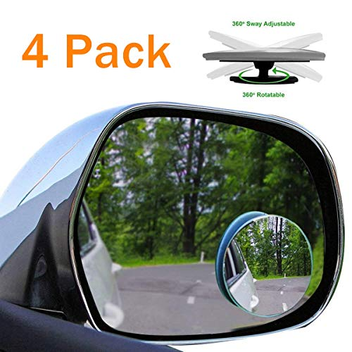 """4 Pack Blind Spot Mirrors Car Accessories - 2"""" Round HD Glass Slim Frameless Convex Rear View Mirror, Wide Angle 360°Rotate 30°Sway Adjustable Stick On Mirror for All Cars - SUV and Trucks"""
