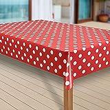 laro Wachstuch-Tischdecke Abwaschbar Garten-Tischdecke Wachstischdecke PVC Plastik-Tischdecken Eckig Meterware Wasserabweisend Abwischbar G10, Muster:Punkte rot, Größe:80x80 cm