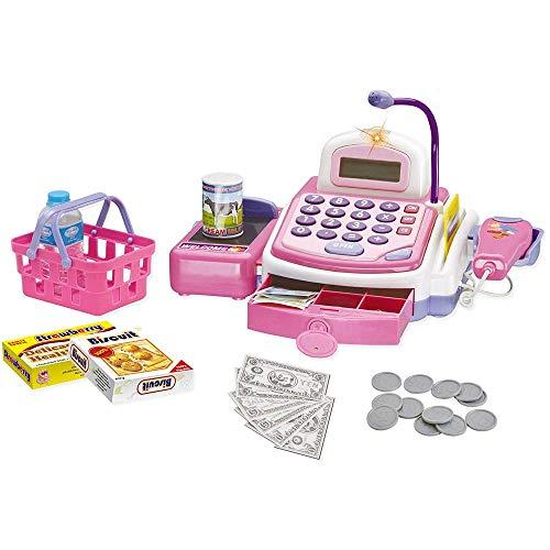 BAKAJI Registratore Cassa Supermercato Giocattolo Bambini con Calcolatrice Digitale Scanner Luci e Suoni Microfono Funzionante Cassetto Apribile e Cestino con Accessori Gioco Spesa