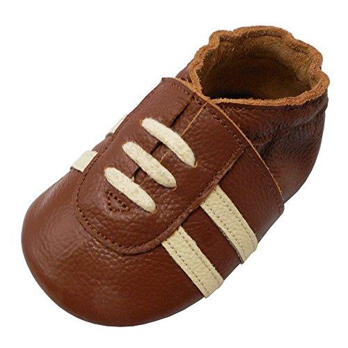 YIHAKIDS Weicher Leder Lauflernschuhe Krabbelschuhe Babyhausschuhe Turnschuh Sneakers mit Wildledersohlen(Braun,6-12 Monate,22 EU)