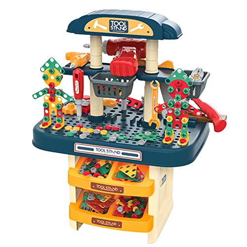 Children's Educational Nut Toy,Toy Tool Set Workbench,Educational Pretend Play Toys -Includes Hammer, Saw,Screwdriver and Many Construction Tools Best Gift for Boys