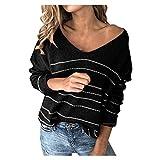 Camiseta de manga larga para mujer, cuello en V, elegante y sexy, blusa, de manga larga, sin hombros, chic, manga larga, para fiestas Negro  S