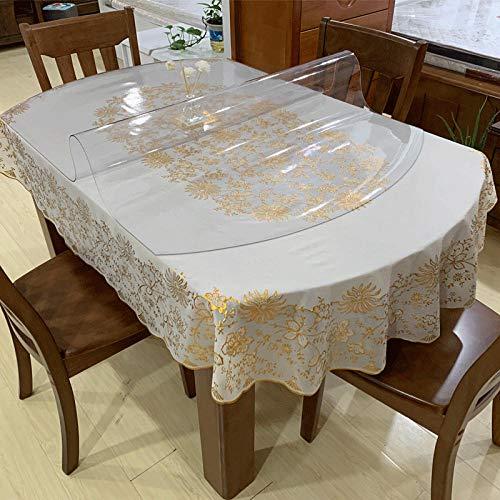 Sonze Rectangular Mantel Anti-Stain,Algodón la Cubierta de Tabla Cena,Mantel Ovalado de PVC, Mantel Anti-Quemaduras y Que no se Lava-A-1.5mm_81 x 135cm