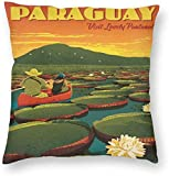 Vintage Travel Paraguay Giant Lily Pads Poster Kissenbezug