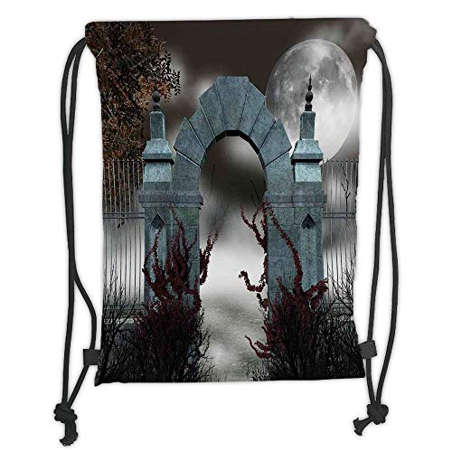 Fevthmii Drawstring Backpacks Bags, Gothic, Scary Medieval Middle Age Stone Gate with Fog Full Moon and Ivy Dark Night Theme Art, Grey Red Soft Satin, 5 Liter Capacity, Adjustable String Closure