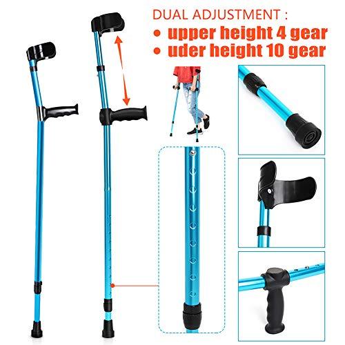 LFFME Krücken, ergonomisch geformte Unterarmkrücken (1 Paar) mit komfortablem Griff, einziehbare medizinische Krücken für tragbare Arthritis, Blue