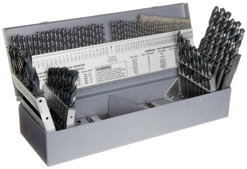 Chicago Latrobe 150 High-Speed Steel Jobber Length Drill Bit Set with Case, Black Oxide, 118 Degree Conventional Point, Combination, 114-Piece