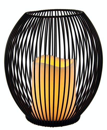 Flair Flower 705620BR Metall-Windlicht mit LED Kerze, batteriebetrieben, Kerzenleuchter Kerzenhalter Oval Korb Halter Laterne Windlicht Gartenwindlicht Metalllaterne, braun, 18x16x16 cm