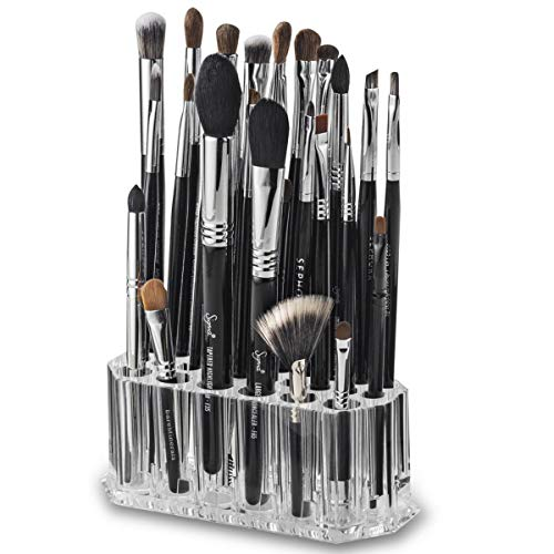 Porta para Brochas de Maquillaje, Soporte para Brochas, Organizador para Brochas de Maquillaje, Caja para Guardar Maquillaje con 26 Compartimentos-Transparente/Acrílico