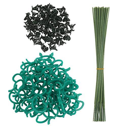 BIGKASI 150 Pezzi Set di Supporto per Piante 50 Bastoncini di supporto per piante + 50 clip di supporto per orchidee +50 clip per piante rampicanti per casa e giardino ( verde )