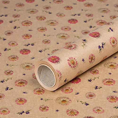Geschenkpapier Gänseblümchen, Kraftpapier, gerippt, 60 g/m² - 1 Rolle 0,70 x 10 m