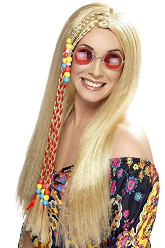 Smiffys Damen 60er Jahre Lange Perücke mit Bunter Strähne, Hippie Party Perücke, Blond, One Size, 42184