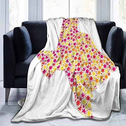 jrtyjrdtyj Decke werfen Blanket Star Mosaic Map of Texas Throw Blanket Ultra Soft Velvet Blanket Lightweight Bed Blanket Quilt Durable Home Decor Fleece Blanket Sofa Blanket Luxurious Carpet