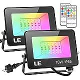 LE 15W LED Strahler RGB mit RF-Fernbedienung, 2er LED Fluter mit 7 Farben 2 Modi,...