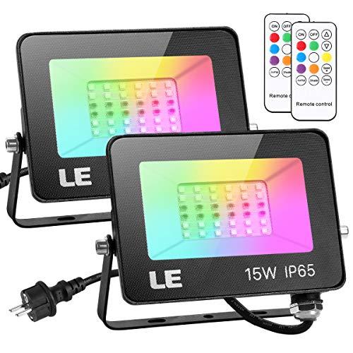 LE 15W LED Strahler RGB mit RF-Fernbedienung, 2er Wasserdicht LED Fluter mit Memory-Funktion, Dimmbar Farbwechsel Außenstrahler, IP65 Farbig Außenlampe, Bunt Flutlicht für Garten, Party Deko, Hotel