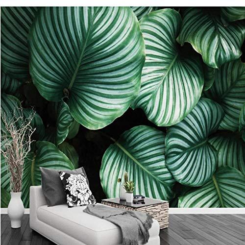 Wuyii Eigen 3D-behang fotobehang modern minimalistisch groen blad woonkamer achtergrond muur achtergrond wanddecoratie fotobehang 120 x 100 cm.