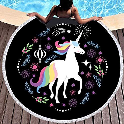 yunge Toalla de baño Serie Unicornio Negro Toalla de Playa Redonda de Arco Iris para el hogar Toalla de baño Deportiva para Picnic