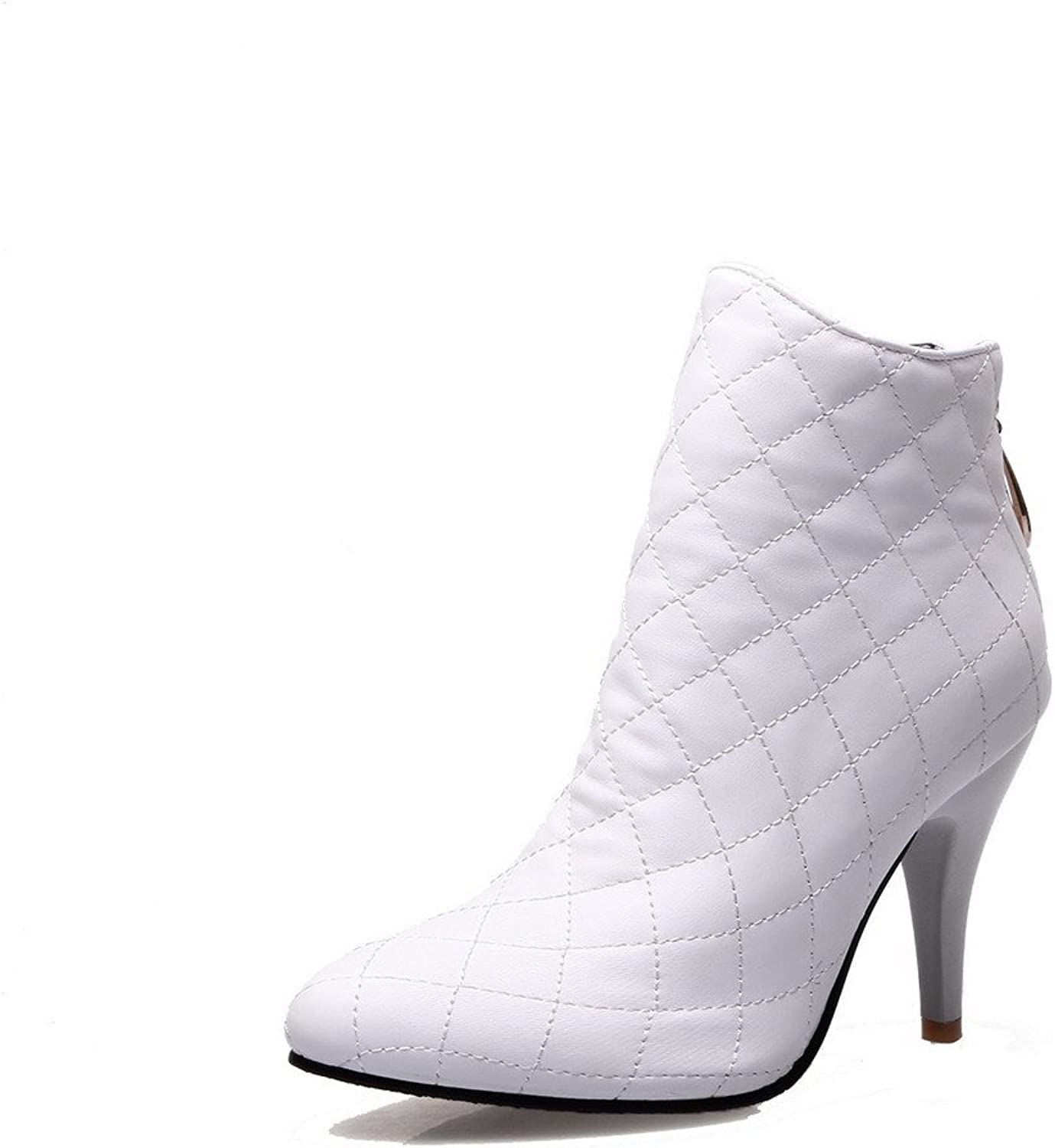 WeenFashion Women's Soft Material Zipper Pointed Closed Toe High-Heels Low-top Boots