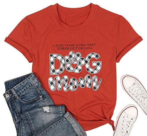 NANYUAYA I Just Took a DNA Test Turns Out Im 100% Dog Mom T-Shirt Women Plaid Funny Saying Shirt Short Sleeve Tee Mother Orange