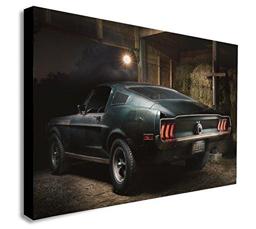 Steve McQueen Original 1968 Mustang Bullitt Leinwanddruck, gerahmt, verschiedene Größen, Holz und Leinwand, A1 32x24 inches