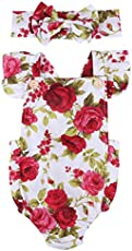 Newborn Kids Baby Girls Clothes Floral Jumpsuit Romper Playsuit + Headband Outfits (0-6 Months, Red)