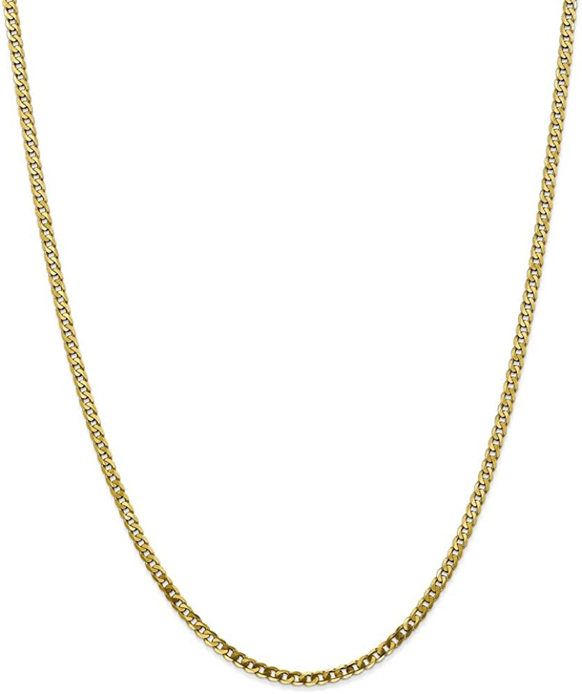 Solid 10k Yellow Gold 2.9mm Flat Beveled Curb Cuban Chain Necklace - with Secure Lobster Lock Clasp