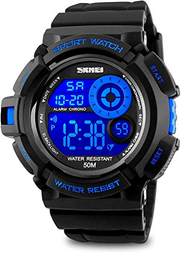 Skmei Mens Sport Running Watch, Digital Electronic 50M Waterproof Military Army Sports LED Wristwatch Water Resistant with Stopwatch Unique Dial 7 Color Changeable Backlight - Blue