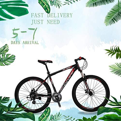 Extrbici XF300 Nuova mountain bike da 24 velocità Shimano Shifter 27,5 'Forcella pneumatica da 19 pollici in lega di alluminio con bloccaggio MTB Hardtail MTB bici Doppio freno a disco meccanico (red)