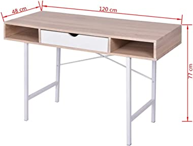 Ausla Bureau avec 1 tiroir et 2 compartiments, en bois massif de chêne, table console pour ordinateur, bureau, maison, chambr
